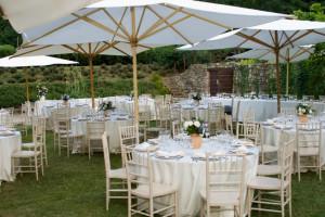 Outdoor wedding reception with Italian influence